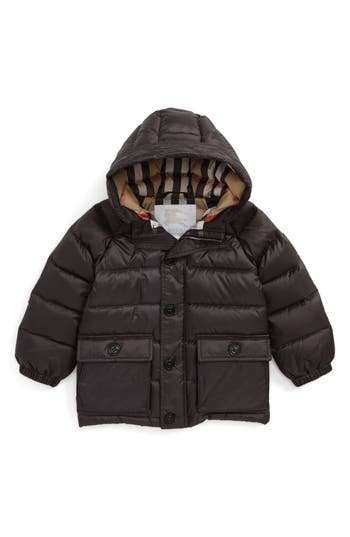 Infant Burberry Lachlan Hooded Down Jacket, Grey