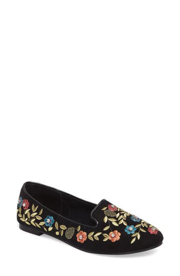 Topshop Sweetie Embroidered Loafer - Black
