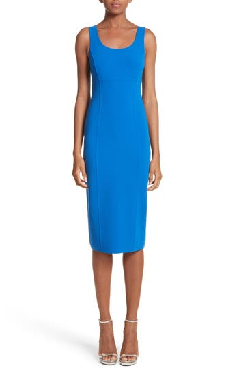 Michael Kors Stretch Wool Scoopneck Sheath Dress, Blue