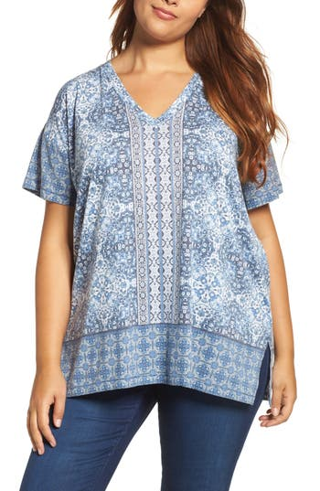 Plus Size Lucky Brand Baroque Mosaic V-Neck Tee, Blue