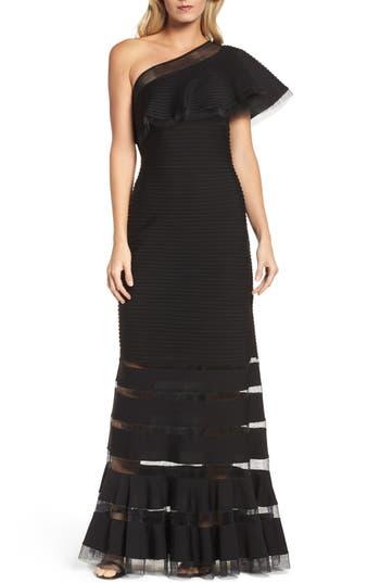 Tadashi Shoji Pintuck One-Shoulder Gown, Black