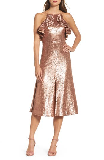 Women's C/meo Collective Illuminated Sequin Ruffle Midi Dress, Size X-Small - Metallic