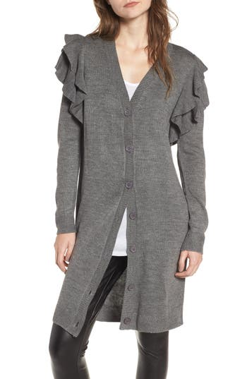 Women's Soprano Ruffle Shoulder Cardigan, Size X-Small - Grey
