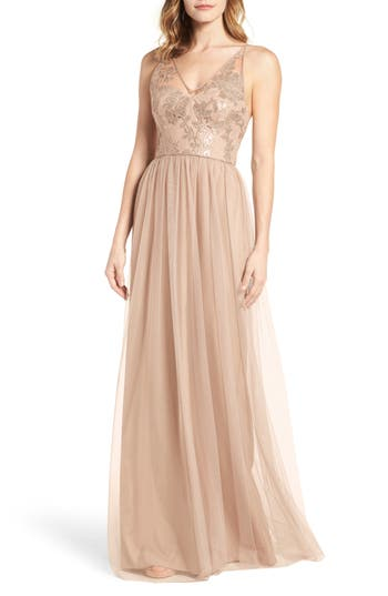 Amsale Sora Sequin & Lace Gown, Brown