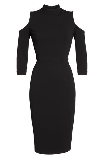 Adrianna Papell Cold Shoulder Sheath Dress, Black