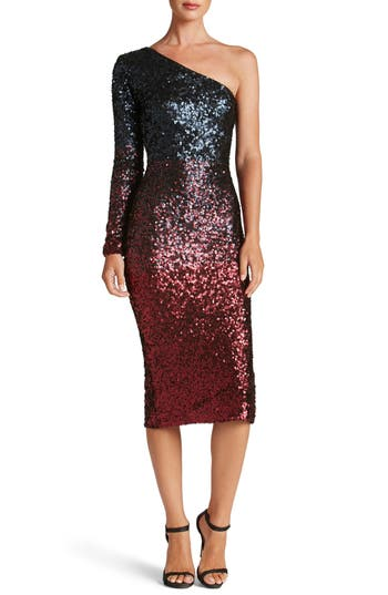 Dress The Population Chrissie One-Shoulder Ombre Sequin Sheath Dress, Red