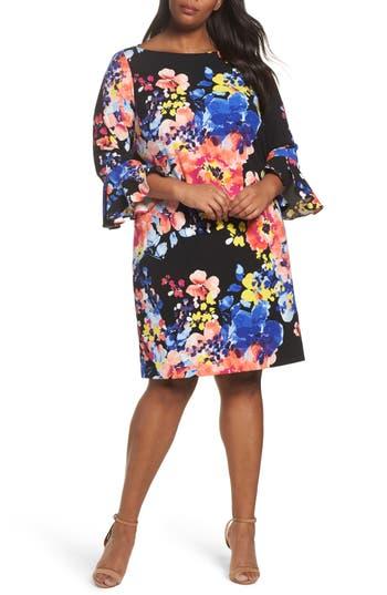Plus Size Tahari Print Ruffle Sleeve Shift Dress, Black