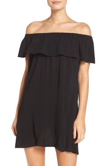 Becca Southern Belle Off The Shoulder Cover-Up Dress, Black