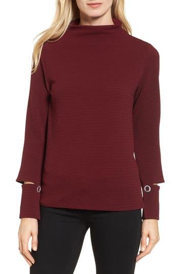 Women's Bobeau Split Cuff Top, Size X-Small - Burgundy