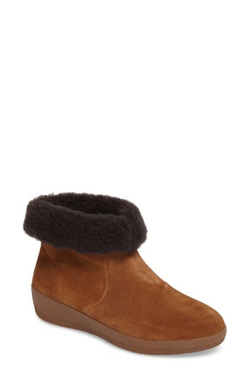 Fitflop Skate Genuine Shearling Cuff Boot, Brown