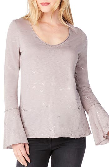 Michael Stars Bell Cuff Foiled Knit Top, Size One Size - Pink