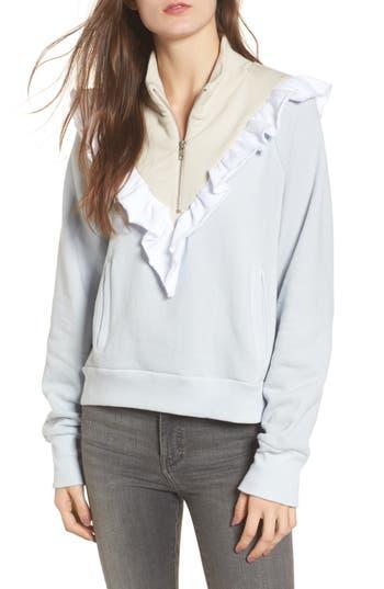 Women's Wildfox Prima Ruffle Warm-Up Pullover, Size X-Small - Blue