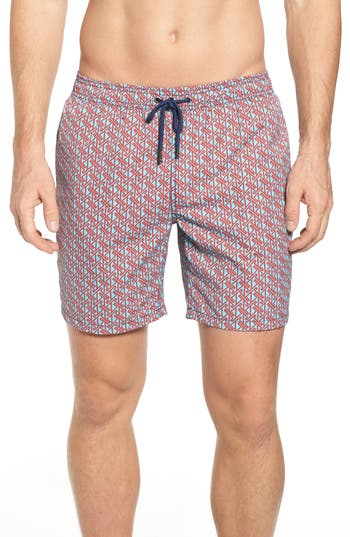 Mr. Swim Vertical Zig Print Swim Trunks, Blue