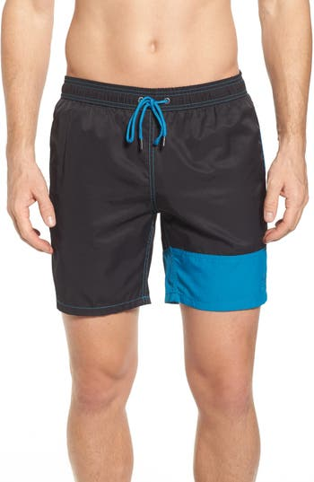 Mr. Swim Colorblock Print Swim Trunks, Black