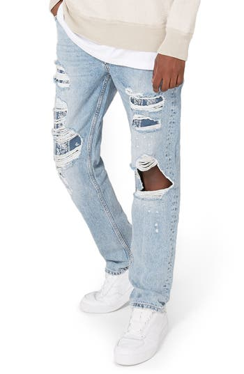 Topman Patch Standard Fit Jeans, Blue