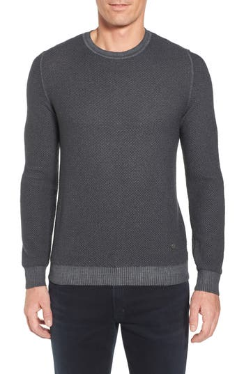 Stone Rose Honeycomb Merino Crewneck Sweater, (m) - Grey