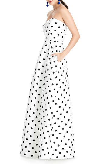 Alfred Sung Strapless Dot Sateen Gown, White