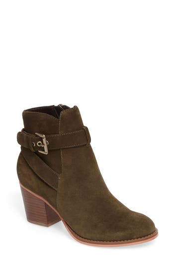 Sole Society Paislee Buckle Strap Bootie- Green
