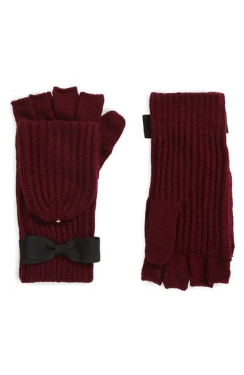 Kate Spade New York Grosgrain Bow Convertible Knit Mittens, Size One Size - Burgundy