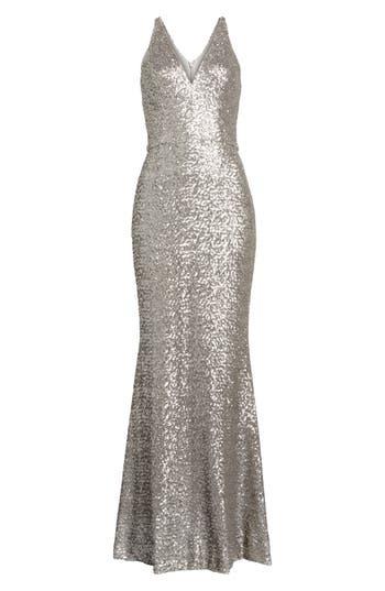 Dress The Population Harper Mermaid Gown, Metallic