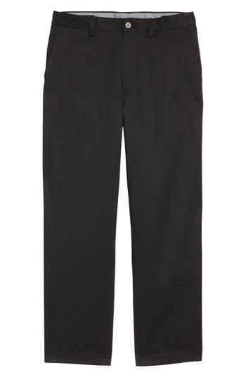 Men's Nordstrom Men's Shop 'Classic' Smartcare(TM) Relaxed Fit Flat Front Cotton Pants, Size 42 x 32 - Black (Online Only)