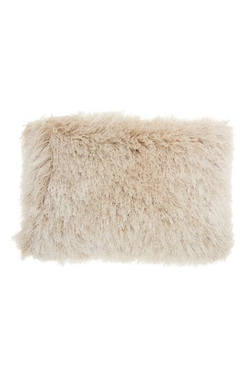 Mina Victory Shimmer Faux Fur Pillow, Size One Size - Beige