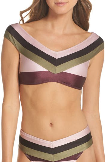 Ted Baker London Imperial Stripe Bardot Bikini Top, Pink