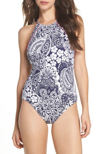 Tommy Bahama Paisley Paradise Reversible One-Piece Swimsuit, Blue