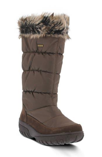 Spring Step Vanish Faux Fur Trim Waterproof Boot - Brown