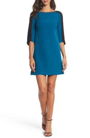 Adrianna Papell Colorblock Crepe Shift Dress, Blue