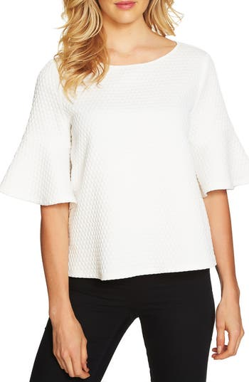 Women's Cece Bell Sleeve Bubble Knit Top, Size X-Small - Ivory
