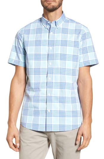 Nordstrom Shop Trim Fit Washed Plaid Sport Shirt, Blue
