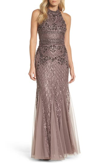 Adrianna Papell Bead Embellished Gown, Beige