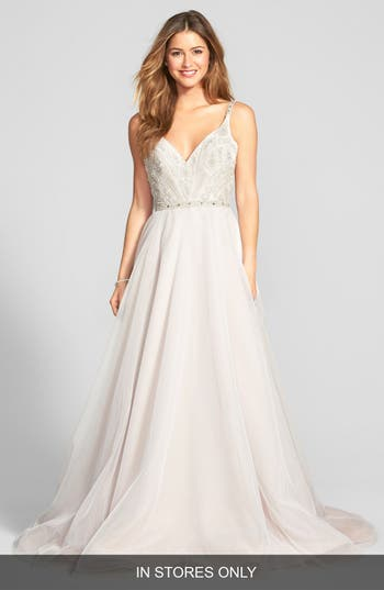 Women's Hayley Paige 'Roxanne' Beaded Bodice Gown