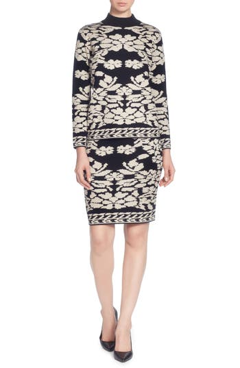 Catherine Catherine Malandrino Uffie Floral Knit Skirt, Black