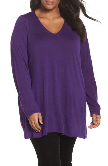 Plus Size Eileen Fisher Merino Wool Tunic Sweater, Purple