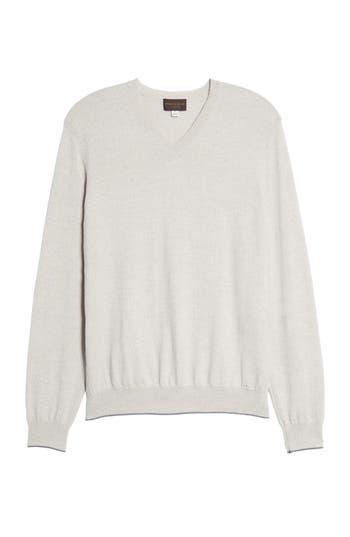 Thomas Dean Merino Wool Blend V-Neck Sweater, Grey