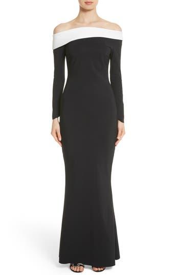 Chiara Boni La Petite Robe Tae Bicolor Off The Shoulder Gown, Black