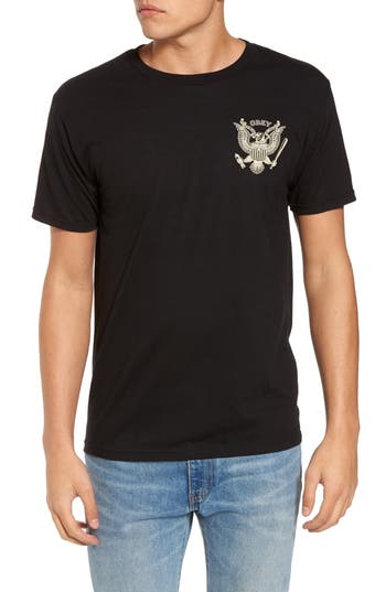 Obey Look Out Below Premium Graphic T-Shirt, Black