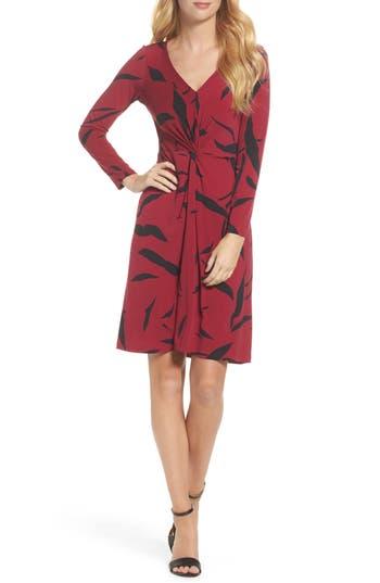 Leota Faux Wrap Dress, Red