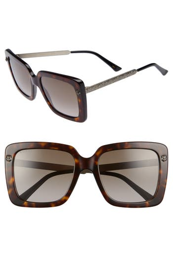 Gucci 5m Square Sunglasses - Havana/ Brown