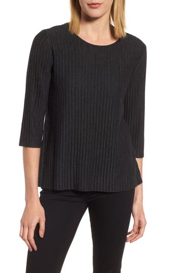 Eileen Fisher Ribbed Merino Wool Sweater, Grey