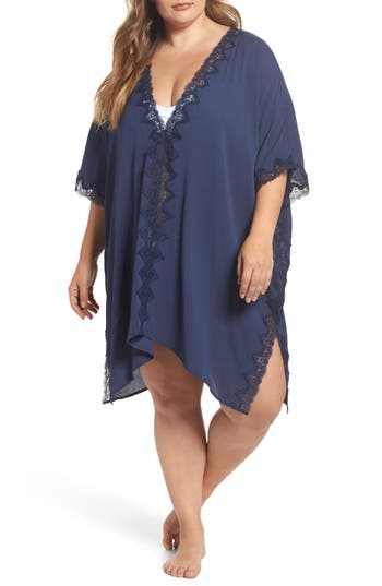 Plus Size Chelsea28 Gauze Poncho, Blue