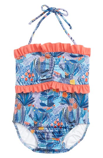 Toddler Girl's The Salty Baby Ruffle One-Piece Swimsuit, Size 2T - Blue