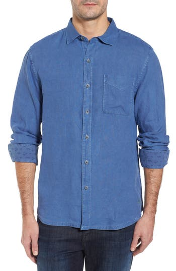 Men's Tommy Bahama Seaspray Breezer Standard Fit Linen Sport Shirt, Size Small - Blue
