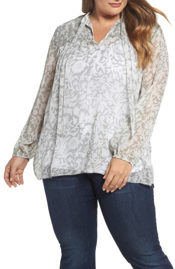 Plus Size Women's Lucky Brand Beaded Floral Peasant Top, Size 1X - Grey