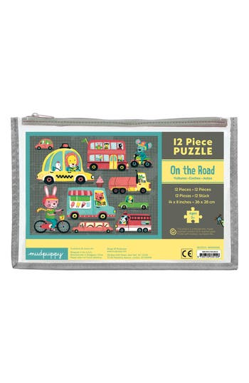 Boys Mudpuppy On The Road Puzzle Pouch 12Piece Puzzle