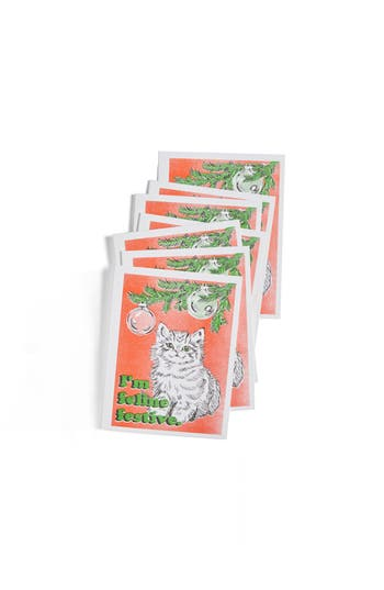 Yellow Owl Workshop Feline Festive Set Of 8 Risograph Printed Greeting Cards - None