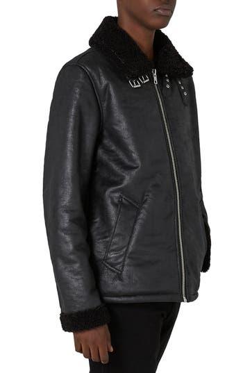 Men's Topman Faux Shearling Jacket, Size Large - Black