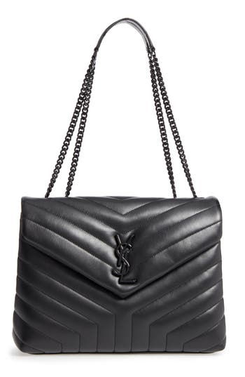 SAINT LAURENT MEDIUM LOULOU MATELASSE LEATHER SHOULDER BAG - BLACK
